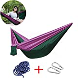 Outdoor Camping Hammock,Portable Nylon Parachute Hammocks by YIGER,Lightweight Multifunctional Travel Single Hammock for Hiking,Beach,Yard,Backpacking,Backyard (purple&blackish green, 7.55ft*2.95ft)