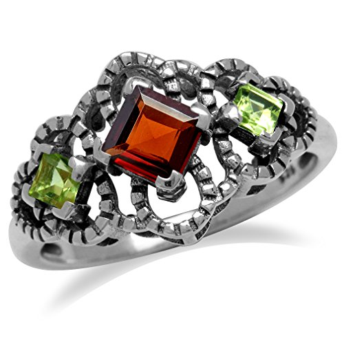 Natural Garnet & Peridot 925 Sterling Silver Antique Finish Scroll/Filigree Ring Size 8 (Antique Ring Scroll)
