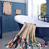 WolfgangDecor Vintage Sports Towel Set Buttons Collection Fabric Texture Canvas Frame Sewing Needlecraft Contemporary Picture Handkerchief Set Light Brown