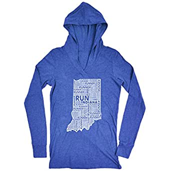 Gone For a Run Women's Lightweight Performance Hoodie Indiana State Runner Adult Small Blue