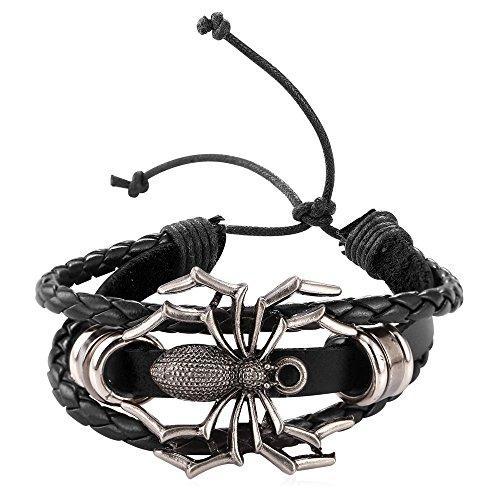 U7 Men Womens Fashion Black Leather Woven Bracelet Cool Spider Design Punk ()