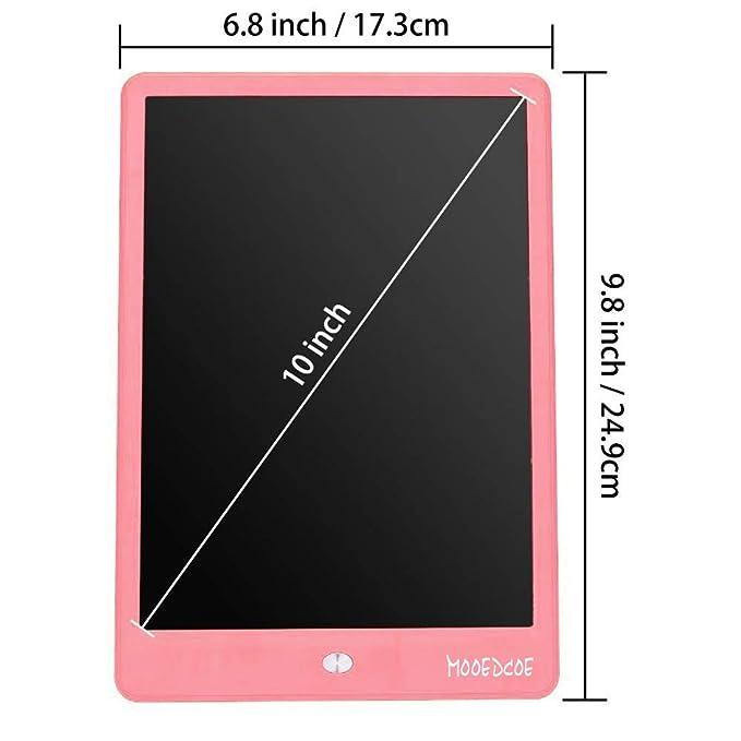 Mooedcoe LCD Tableta de Escritura 10 Pulgadas Pizarra Digital Electronica Niños Bloc de Notas (Rosa)