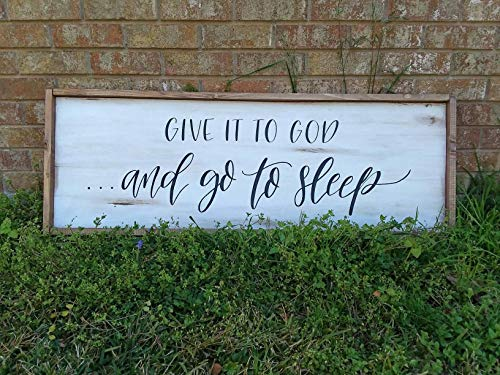 bawansign Large Farmhouse Sign Above Bed Wall Decor Whitewashed Sign Give It to God Go to Sleep Framed Wall Art Bedroom - Sleep Framed