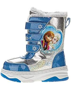 Princess Toddler Girls Blue Frozen Snow Boots with Faux Fur Trim