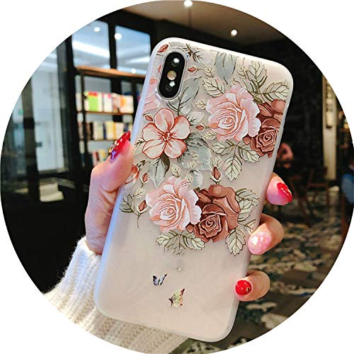 Heat-Tracing Flower Silicon Phone Case for iPhone 7 8 Plus XS Max XR Rose Floral Cases for iPhone X 8 7 6 6S Plus 5 SE Soft TPU Cover,7314,for iPhone 7 Plus