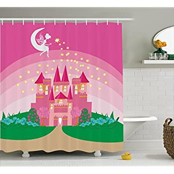 Girly Decor Shower Curtain Set By Ambesonne, Magic Fantasy Fairy Tale  Princess Castle With Pixie