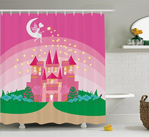 Princess House Fantasia Set (Girly Decor Shower Curtain Set By Ambesonne, Magic Fantasy Fairy Tale Princess Castle With Pixie In Sky Fictional Dream Kingdom Print, Bathroom Accessories, 69W X 70L Inches, Pink Green)