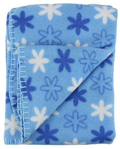 Price comparison product image Soft Fleece Receiving Baby Blanket 30x30 Inches by bogo Brands Blue Snowflake Print