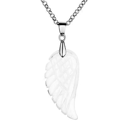 Pendentif forme plume ailes d'ange sculpté en quartz cristal de roche blanc