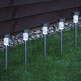 Solar Powered LED Garden Lights Post Waterproof Outdoor Yard Path Lighting UK