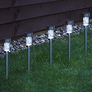 Babz 10 x garden solar powered stainless steel post lights amazon babz 10 x garden solar powered stainless steel post lights aloadofball Image collections