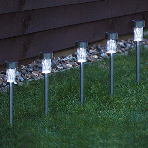 Babz - 10 x GARDEN SOLAR POWERED STAINLESS STEEL POST LIGHTS