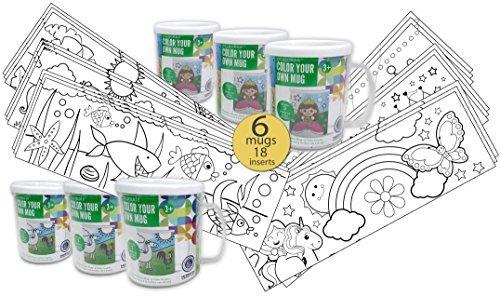 Set of 6 - Color Your Own Coloring Mug for Boys & Girls - Wholesale Bulk Set - 18 Assorted Inserts -