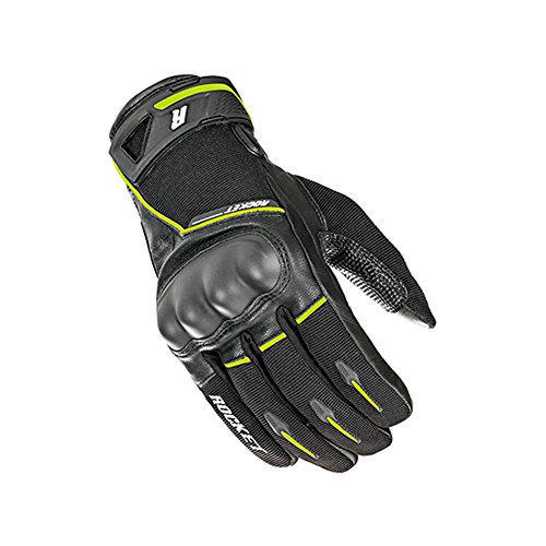 Joe Rocket Supermoto Mens Street Motorcycle Leather Gloves - Black/Hi-Viz/Large