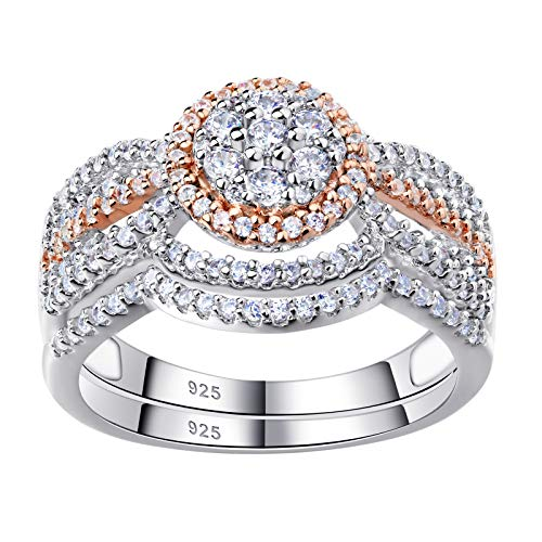 Newshe Engagement Rings for Women Wedding Ring Sets 925 Sterling Silver Cz 1.7Ct Rose Gold Size 5-10