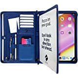 AWES Premium | Blue Leather Portfolio | Ipad Padfolio with Zipper | Fashion for Men and Women | Good for Business Organizer | Travel Folder for Ipad and MacBook | Resume Holder for Interview
