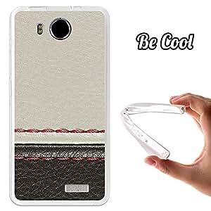 BeCool® - Funda Gel Flexible Umi Hammer Cuero Blanco y Negro Carcasa Case Silicona TPU Suave