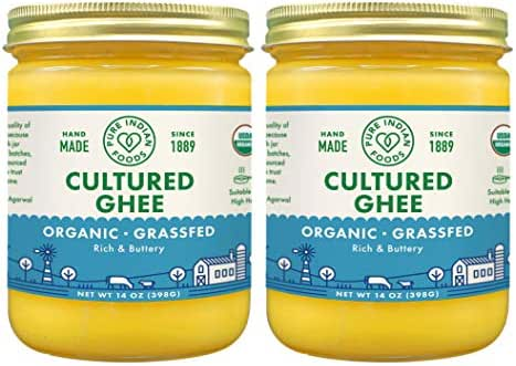 Grassfed Organic Cultured Ghee - by Pure Indian Foods, 14 oz, Pasture Raised, Lactose Free, Gluten-Free, Non-GMO, Paleo, Keto-Friendly, Batch Tested for Casein and Whey (Pack of 2)