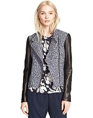 Theory Kinde C Leather Sleeve Boucle Moto Jacket in Blue/Black - 12 Large