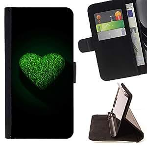 For Sony Xperia Z5 (5.2 Inch) / Xperia Z5 Dual (Not for Z5 Premium 5.5 Inch) Case , Corazón verde- la tarjeta de Crédito Slots PU Funda de cuero Monedero caso cubierta de piel