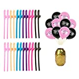 Topfun 24 Pack Bachelorette Party Drinking Straws and Balloons with a Gold Ribbon