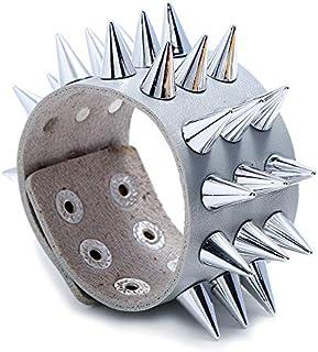 SHOUZ Braccialetto Cinturino in Pelle Punk Non-Mainstream a Tre File di bracciali Imitazione Bracciale a Forma di spuntone