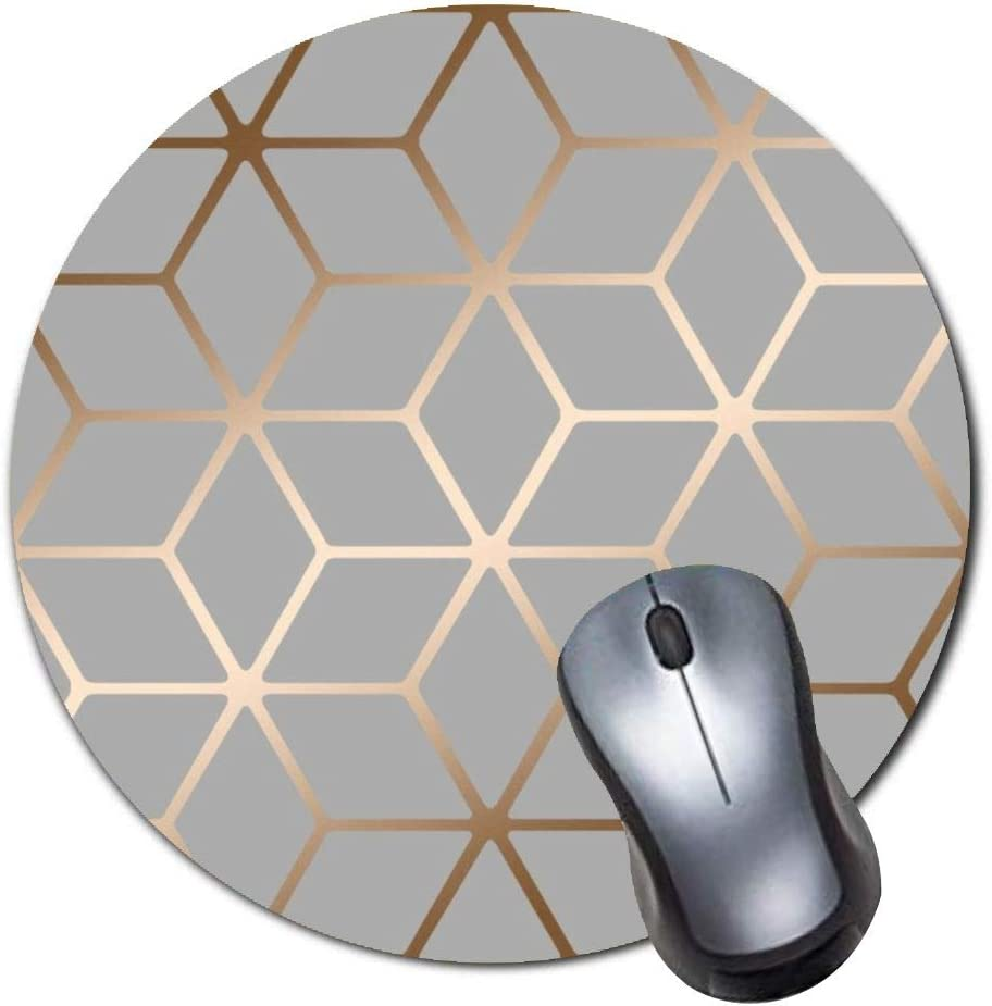 Gaming Mouse Pad,Round Mousepad with Non-Slip Rubber Base for Laptop Computer Desktop,Cubic Shimmer Metallic Grey Game Mouse mat