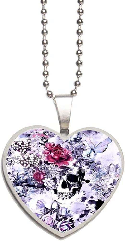 Flowery Skull Necklace Personalized Engraved Heart Custom Gift Pendant-Valentines Day Love