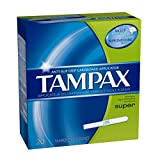 Tampax Cardboard Applicator, Super Absorbency Tampons 20 CT (Pack of 18)