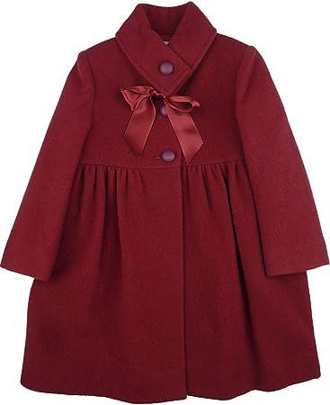 FOQUE - Abrigo de paño para niña Adornado con Lazo de Raso en el Cuello. Color Rojo. Forro Interior. Última Talla (4 años)