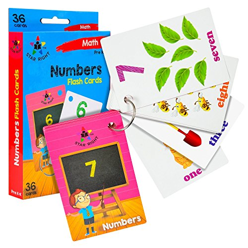 Star Right Numbers Flash Cards with Matching Art, 36 Cards, with 1 Ring, for Ages Pre-K & -