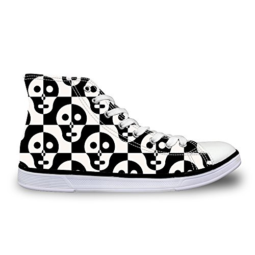 For U Diseños Cool Skull Print Casual High-top Hombre / Mujer Zapatos Lace Up Moda Sneaker Negro-blanco