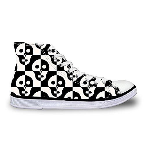 Voor U Ontwerpen Coole Schedel Print Casual Hoge Top Heren / Dames Schoenen Lace Up Fashion Sneaker Zwart-wit