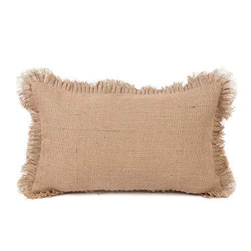 (The White Petals Burlap Lumbar Throw Pillow Cover (Pleated Fringe, Rustic, 12x16 inch, Pack of 1))