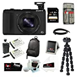 Sony DSC-HX50V/B DSC-HX50, HX50, DSCHX50 Cyber-shot 20.4MP High Zoom Digital Camera Bundle with 32GB SD Memory Card + Memory Card Reader-Writer + Wasabi Power Replacement Battery for Sony NP-BX1 and Sony Cyber-shot DSC-RX1 + Soft Carrying Case + 7″ Spider Tripod and Accessories