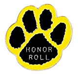 Pack of 100 Paw Print - Honor Roll Lapel Pins (Black/Yellow)