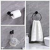 Ntipox 4 Piece Matte Black Stainless Steel Bathroom