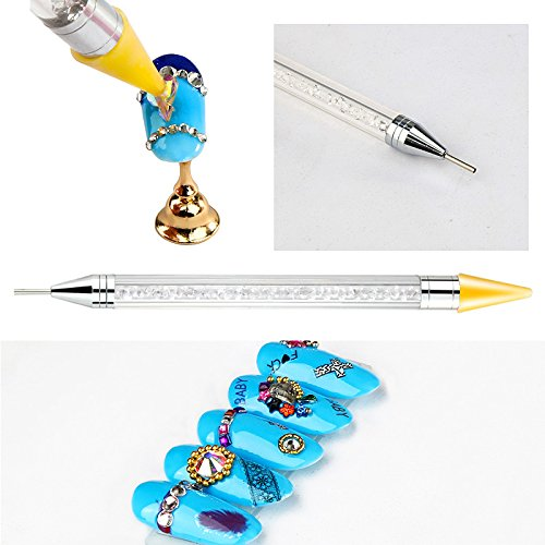 Artlalic Double-head Wax Nail Rhinestone Picker Dotting Pen Acrylic Handle Gem Pick Up Applicator Tool Self-Adhesive Dot Head Tips