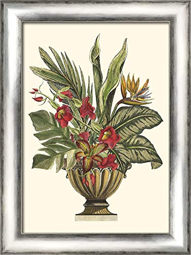 Tropical Foliage in Urn II 20x24 Silver Contemporary Wood Framed Canvas Art by Vision Studio