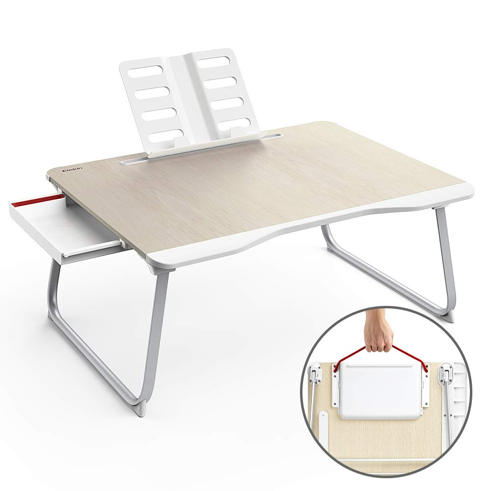 Folding Laptop Desk Multi-Function Elekin Laptop Bed Table with Storage Drawer Phone Stand Cup Holder for Bed Sofa (25.6''x19.3''x11.8'')