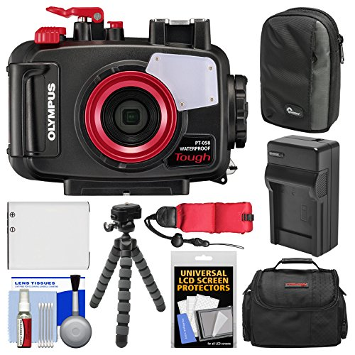 Olympus PT-058 Waterproof Underwater Housing Case for Tough TG-5 Camera with Case + Li-90B Battery & Charger + Tripod Float Strap Kit by Olympus