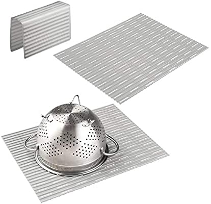 mDesign Large Kitchen Sink Protector Mat Pad Set, Quick Draining - Use In  Sinks to Protect Surfaces and Dishes Combo - Ribbed Design - Includes 1  Sink ...