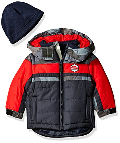 Hat Heavyweight - London Fog Baby Classic Heavyweight Color Block Bubble Jacket With Hat, Navy, 12 Months