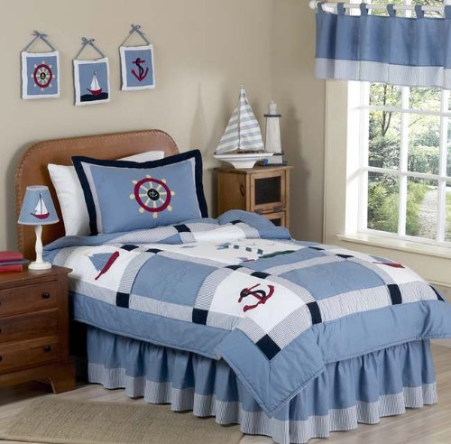 Sweet Jojo Designs Come Sail Away Nautical Childrens and Kids 3 Piece Full/Queen Boys Bedding Set