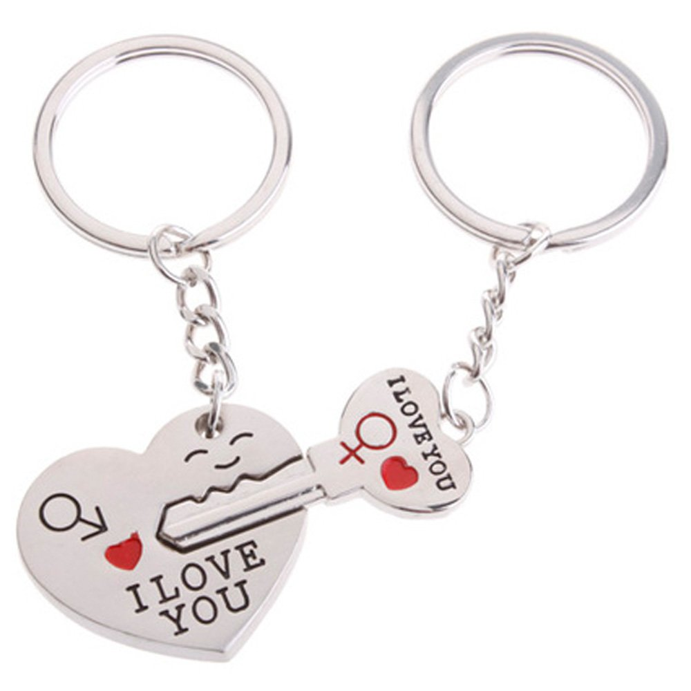 ec6b89087a 4EVER Romantic Stainless Alloy Metal Silver Heart & Key Lock Couple Keychain  with Gift Box Sweetheart Pendant Lovers Key Ring Key Chain Best for ...