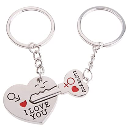 613eaea236 4EVER Romantic Stainless Alloy Metal Silver Heart & Key Lock Couple Keychain  with Gift Box Sweetheart