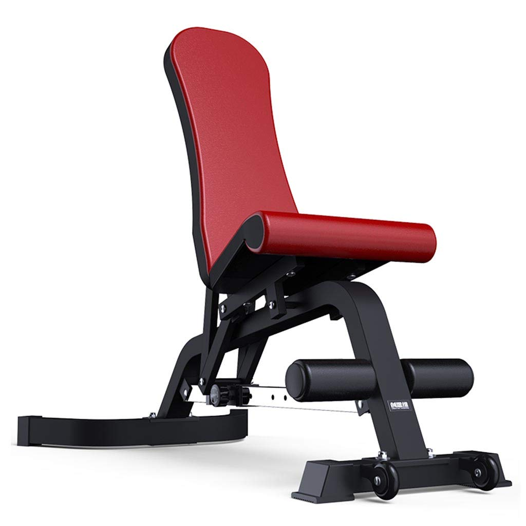 Standard Weight Benches Dumbbell Bench Fitness Folding Chair Supine Board Weight Bench Fitness Equipment (Color : Red, Size : 14774115cm)