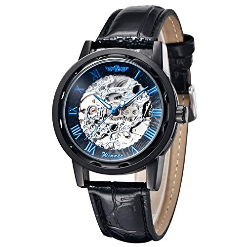 Gute Classic Steampunk Bling Automatic Mechanical Wristwatch See Through Skeleton Automatic Unisex Watch (Blue Black)