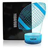 YODAFOUR Rugby Football Night Light 3D Illusion Lamp, Xmas Halloween Birthday Anniversary, Nursery LED Bedside Table Night Lamps for Baby Kids Children Sports Lovers Bedroom Decor by