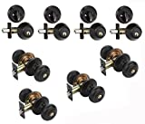 Dynasty Hardware CP-SIE-12P, Sierra Entry Door Knob Lockset and Single Cylinder Deadbolt Combination Set, Aged Oil Rubbed Bronze (4 Pack) Keyed Alike